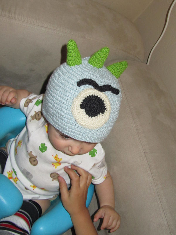 Oscar's monster hat. Sorry there's no better pics!