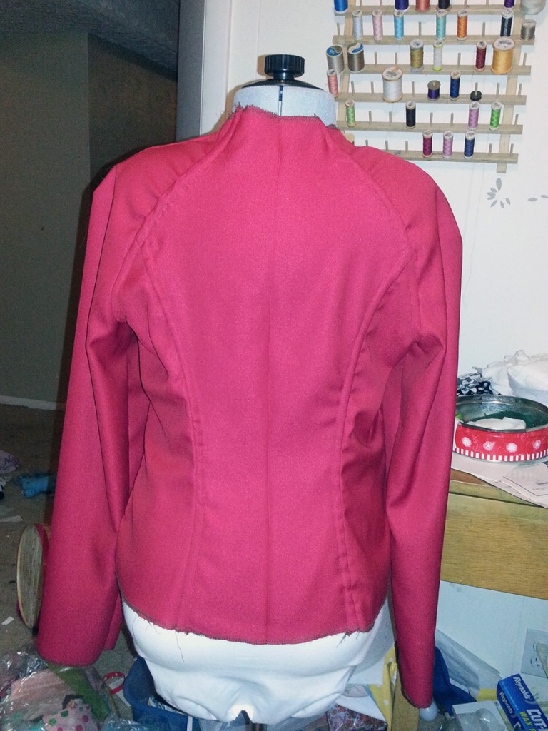 Back of the jacket with seaming done.